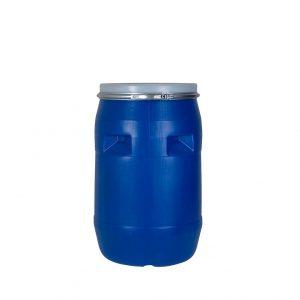 بشکه پلاستیکی 120 لیتری دهانه باز با بست فلزی